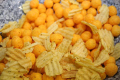 Salty snacks. Unhealthy food Royalty Free Stock Photography