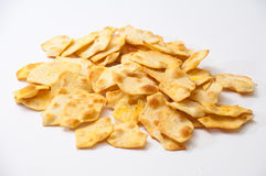 Salty snacks on a white background Stock Photos