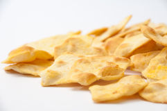 Salty snacks on a white background Royalty Free Stock Image