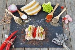 Salty spiced lard. Salo food. Salty spiced lard Stock Photos