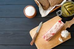 Salty spiced lard, Ukrainian cuisine Stock Photography