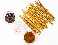 Salty and sweet pastry straws Stock Photos
