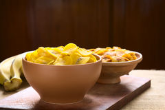 Salty and Sweet Plantain Chips Stock Images