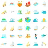Salty water icons set, cartoon style. Salty water icons set. Cartoon set of 36 salty water vector icons for web isolated on white background royalty free illustration