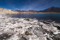 Salty white crust on shore of mountain lake. With blue sky Stock Image