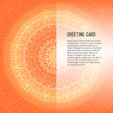 Saluant la carte orange, invitation, fond avec l'élément de dessin de griffonnage pour vos propres moyens conception Photographie stock
