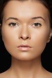 Salud, balneario y tan. Cara modelo con la piel de la pureza Foto de archivo libre de regalías