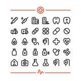 Salud de los primeros auxilios del hospital de la medicina 32 iconos del vector fijados ilustración del vector