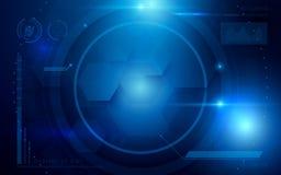 Salud del sistema de la tecnología del interfaz abstracto y concepto futuros virtuales de la información del cuidado en fondo azu Fotos de archivo libres de regalías