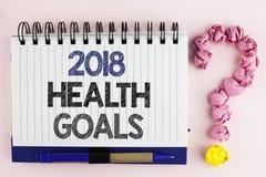 Salud 2018 del texto de la escritura Golas El concepto que significa las metas sanas de la resolución de la comida del entrenamie Imagenes de archivo