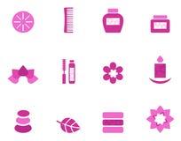Salud e iconos y elementos rosados del balneario