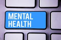 Salud mental del texto de la escritura de la palabra Concepto del negocio para el bienestar psicológico y emocional de la condici foto de archivo