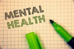 Salud mental del texto de la escritura de la palabra Concepto del negocio para el bienestar psicológico y emocional de la condici imágenes de archivo libres de regalías