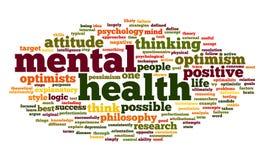 Salud mental en nube de la etiqueta de la palabra Imagen de archivo libre de regalías