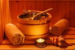 Salud y balneario en la sauna Imágenes de archivo libres de regalías