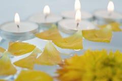 Salud y balneario: flores, guijarros, agua Fotos de archivo libres de regalías
