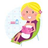 Salud y balneario: Mujer que se relaja en la silla de salón libre illustration