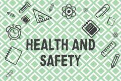 Salud y seguridad del texto de la escritura Significado del concepto que toma las medidas apropiadas para protegerse contra daño ilustración del vector