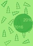 Saludando Año Nuevo carde 2016 con los árboles de navidad stock de ilustración