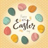 Saludando la tarjeta retra Pascua feliz