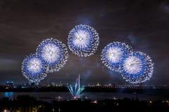 Salude en el final del círculo del festival de la luz en el St Fotografía de archivo