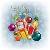 Saludo abstracto de la Navidad con los regalos Foto de archivo
