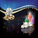 Saludo blanco de la Navidad con las alarmas y el arqueamiento Imagen de archivo