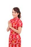Saludo chino asiático de la muchacha en chino tradicional, recepción Fotos de archivo