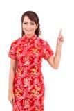 Saludo chino asiático de la muchacha en chino tradicional, recepción Foto de archivo libre de regalías