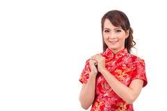 Saludo chino asiático de la muchacha en chino tradicional, recepción Fotografía de archivo libre de regalías