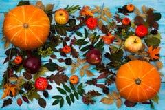 Saludo de la acción de gracias con las hojas y la calabaza de la caída en backg azul Foto de archivo libre de regalías