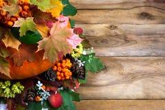 Saludo de la acción de gracias con las hojas de arce en la tabla de madera vieja Imágenes de archivo libres de regalías