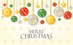 Saludo de la Feliz Navidad con las bolas de la Navidad de la ejecución Bandera, cartel, y diseño del vector del ejemplo del fondo fotografía de archivo libre de regalías