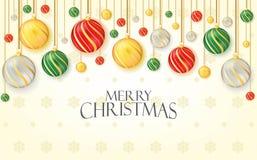 Saludo de la Feliz Navidad con las bolas de la Navidad de la ejecución Bandera, cartel, y diseño del vector del ejemplo del fondo foto de archivo