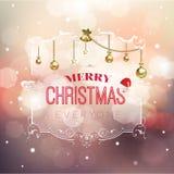 Saludo de la Feliz Navidad en marco floral Stock de ilustración