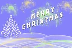 Saludo de la Feliz Navidad escrito al lado de árbol de Navidad Fotos de archivo libres de regalías