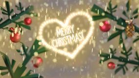 Saludo de la Feliz Navidad de la forma del corazón en la nieve con las ramas adornadas ilustración del vector