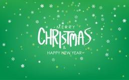 Saludo de la Feliz Navidad y de la Feliz Año Nuevo en paisaje de las nevadas Fondo verde claro del vector fotos de archivo