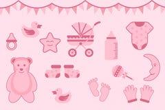 Saludo de la fiesta de bienvenida al bebé con el color rosado con los diversos objetos - ejemplo del vector libre illustration