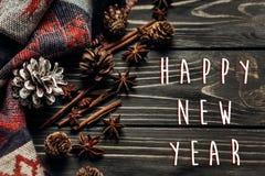 Saludo de la muestra del texto de la Feliz Año Nuevo con invierno rústico elegante o Imágenes de archivo libres de regalías
