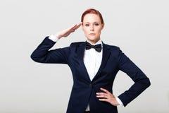 Saludo de la mujer de la moda Foto de archivo libre de regalías