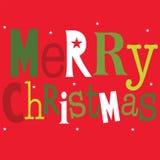 Saludo de la Navidad con la Feliz Navidad de las palabras Foto de archivo libre de regalías