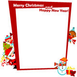 Saludo de la Navidad con los cabritos del marco Imágenes de archivo libres de regalías