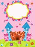 Saludo de la tarjeta con el castillo de la historieta Fotografía de archivo libre de regalías