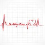 Saludo de la tarjeta del día de San Valentín con latido del corazón Imagenes de archivo
