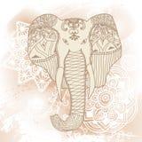 Saludo de la tarjeta hermosa con el elefante Capítulo del animal hecho en el ejemplo del elefante del vector para las materias te stock de ilustración