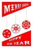 Saludo de la tarjeta roja de la Feliz Navidad ilustración del vector