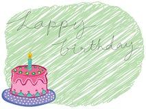 Saludo de la torta del feliz cumpleaños Imagen de archivo libre de regalías