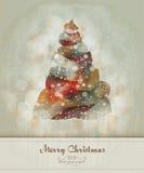 Saludo de la vendimia con el árbol de navidad abstracto stock de ilustración