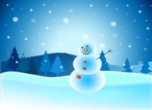 Saludo de los días de fiesta del Año Nuevo con el muñeco de nieve Imágenes de archivo libres de regalías